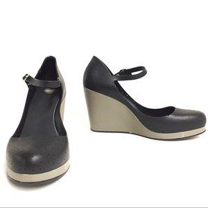 9 MEL Black & Grey Mary Jane Wedge Jelly Shoes